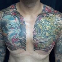 largo samurai e teschio tatuaggio sul petto per uomo