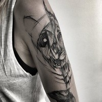 Large separated upper arm tattoo by Inez Janiak upper arm tattoo of lion and panda heads