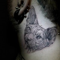 Large very detailed neck tattoo of sphinx cat head