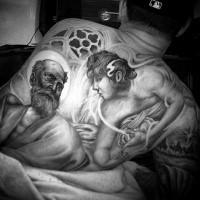 Großes sehr detailliertes religiöses Tattoo am ganzen Rücken