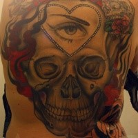 Large whole back tattoo of human skull with eye and flames