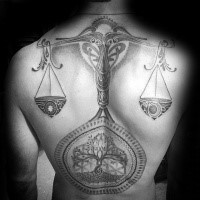 Large whole back tattoo of mysterious libra with tree
