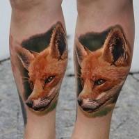 Life like amazing looking colored leg tattoo of sweet fox head