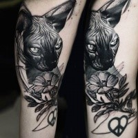 Lifelike black in shoulder tattoo of Sphinx cat with flower
