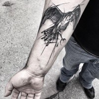 Lifelike black ink medium size forearm tattoo of flying eagle