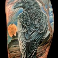 Lifelike colored dark crow tattoo on shoulder with old house and moon