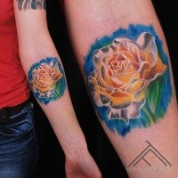 Lifelike colored forearm tattoo of big white rose