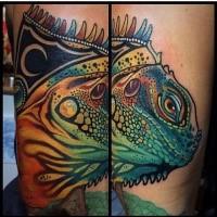 Lifelike colored tattoo of big lizard