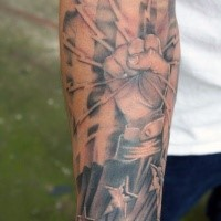 Lifelike detailed forearm tattoo of lineman worker with stars and flag
