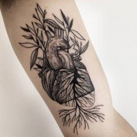 Linework black ink painted by Michele Zingales biceps tattoo of human heart with plants