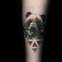 Linework cool looking arm tattoo of panda with geometrical figure