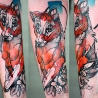 Linework psychedelic style forearm tattoo of fox with four eyes and flowers