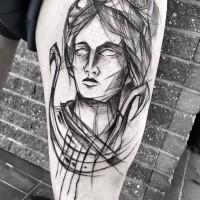 Estilo de línea asombrosa que mira el tatuaje del muslo del retrato de la mujer de Inez Janiak