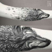 Linework style beautiful combined tattoo of wolf head combined with wild flowers