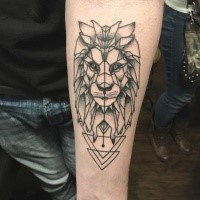 Linework style black ink forearm tattoo of lion head