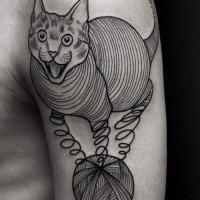 Linework style black ink shoulder tattoo of evil cat