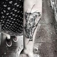 Stile di linea disegnato da Inez Janiak tatuaggio avambraccio di elefante ambulante