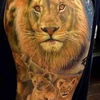 Lion family tattoo on half sleeve