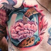 Kleines 3D Stil menschliches Gehirn musikalisches Tattoo an der Brust kombiniert mit Musiknoten