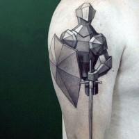 piccolo astratto stile nero e bianco cavaliere medievale tatuaggio  su spalla