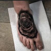 piccolo nero e bianco 3D rosa tatuaggio su piede