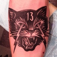 Little black and white crazy cat tattoo on forearm with lightning and number