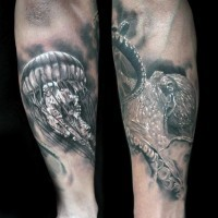 Little black and white jellyfish and octopus tattoo on arm