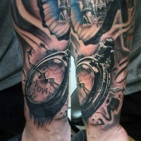Little black and white old corrupted clock tattoo on wrist