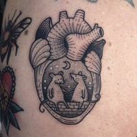 Little black ink heart shaped tattoo stylized with mouse couple