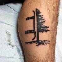 Little black ink leg tattoo of tree with snowboard