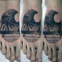 piccolo inchiostro nero oceano aggitato albero palma tatuaggio asu piede