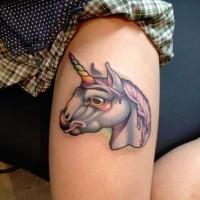 Little cartoon like fantasy unicorn tattoo on leg