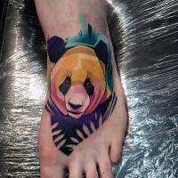 Little cartoon style colored leg tattoo of sweet panda bear