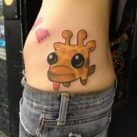 Little cartoon tattoo side fantasy giraffe