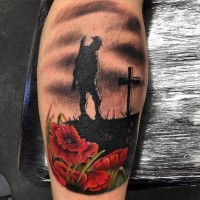 Little colored military memorial tattoo on leg with flowers