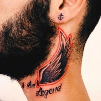 Little colored simple wing with lettering tattoo on neck