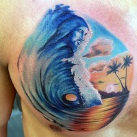 Little colorful waves with Jesus face and island tattoo on chest