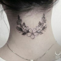 Little cute looking neck tattoo painted by Zihwa  of flowers
