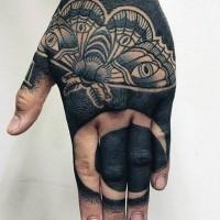 eccezionale disegno su mano inchiostro nero luna e farfalla tatuaggio