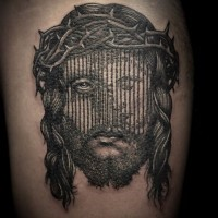 Little Jesus like black ink portrait tattoo on thigh