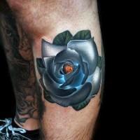 piccola multicolore 3D fiore rosa tatuaggio su gamba