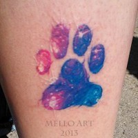 Little multicolored animal paw print tattoo on arm