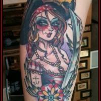 Little piratess coloured tattoo by eric juiken