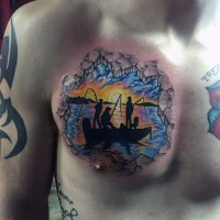 piccolo realistico colorato famiglia di pescatori tatuaggio su petto