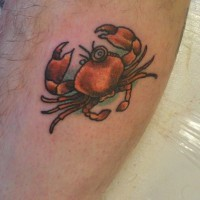 Little red crab tattoo with monocle