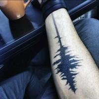 Little simple designed black ink music wave tattoo on arm