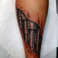 Little very realistic looking colored biomechanical tattoo on leg