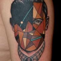 Little vintage style colored faceless geometrical portrait shoulder tattoo