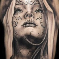 Lovely black gray santa muerte girl tattoo