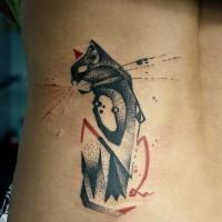 Lovely black red geometric cat tattoo on ribs
